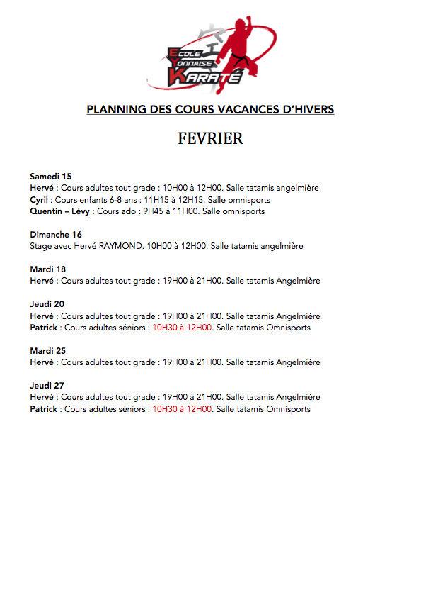 PLANNING DES COURS VACANCES D'HIVERS